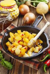 Fried turnip with honey