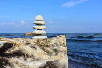 Stack of stones on stump
