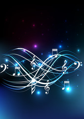 Music notes glow background