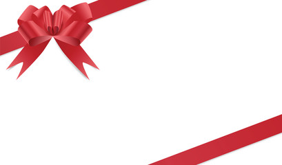 Red bow and two satin ribbons frame isolated on white background, vector eps10 illustration
