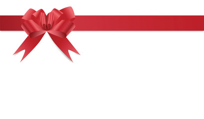 Red bow on satin red ribbon frame isolated on white background, vector eps10 illustration