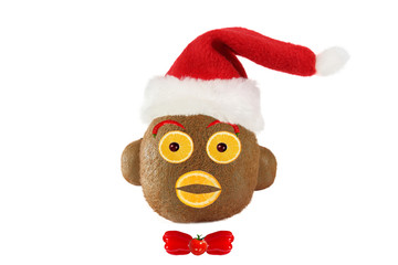 Creative food concept. Funny portrait of a Santa Claus-monkey ma