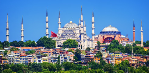Panoramic view of Istanbul with minarets of Blue Mosque and Hagia Sophia cathedral, Turkey