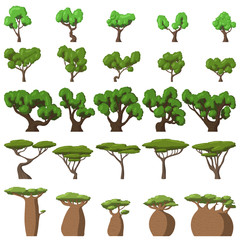 25 Cartoon trees set