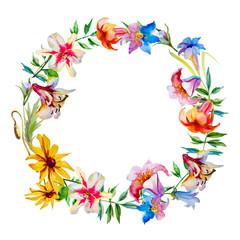 Flowers wreath on white