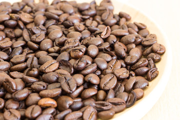Selective focus roasted coffee beans, can be used as a background