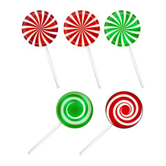 Christmas striped Lollipop set. Spiral sweet candy with stripes. Vector illustration isolated on a white background.