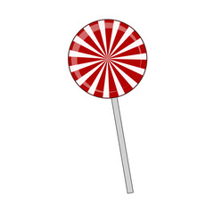 Lollipop striped in Christmas colours. Spiral sweet candy with red and white stripes. Vector illustration isolated on a white background.