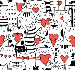 Wall Mural - Сats with hearts seamless pattern
