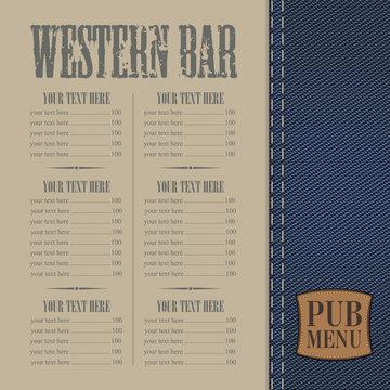 Menu for the pub