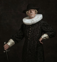 Official portrait of historical governor from the golden age. St