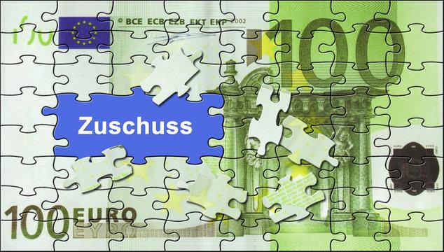 """Förderung 16 / Puzzle 100-Euro-Schein """"Zuschuss"""""""