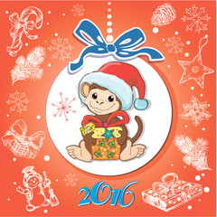 Card Merry Christmas with a monkey