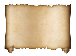 scroll parchment or aged manuscript isolated