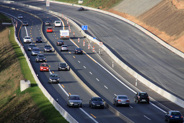 Baustellenverkehr auf der Autobahn