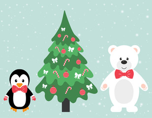 winter bear and penguin and fir-tree