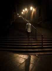 Dark stairs at night in Edinburgh