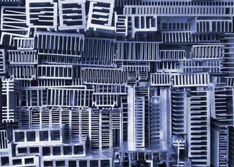 Old aluminum heatsinks - abstract background