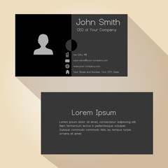 simple half black and gray business card design eps10