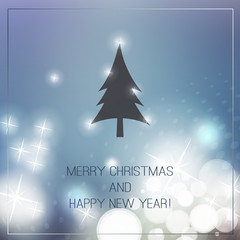 New Year And Christmas Card With A Sparkling Blurred Background