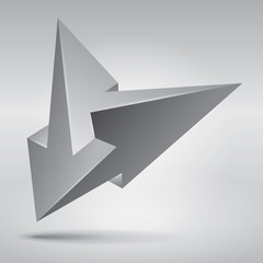 Impossible shape, impossible arrows, abstract vector object