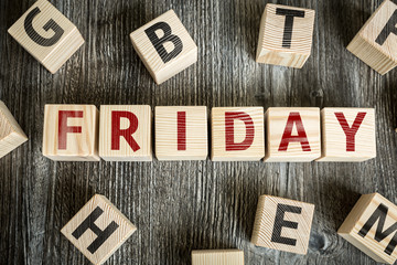 Wooden Blocks with the text: Friday
