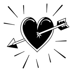 Heart and arrow silhouette