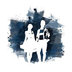 Silhouette einer Frau im Dirndl und eines Mannes in Lederhose