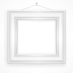 Wooden frame for picture on white background,