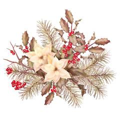 Christmas retro watercolor decorative composition