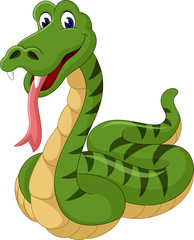 Cute green snake cartoon of illustration