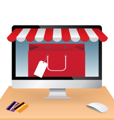 Red shopping paper bag in computer with credit card, e-commerce concept vector