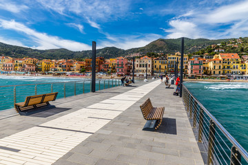 View Of Mole Leading To The Town Of Alassio,Italy