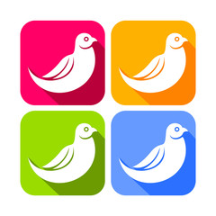 Abstract Bird Rounded Square Icons
