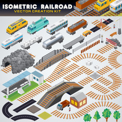 Isometric Railroad Train. Detailed 3D Illustration
