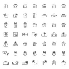 Present icon set in thin line style,vector illustration
