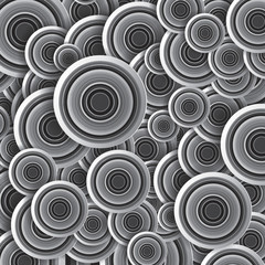 Striped circles, black and white, vector art background, design wallpaper