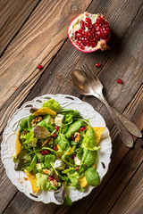 pomegranate with green salad