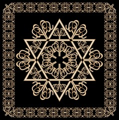 Luxury golden ornament with David star motif in filigree gold frame on black background. Jewish religious hexagram symbol named in hebrew magen.