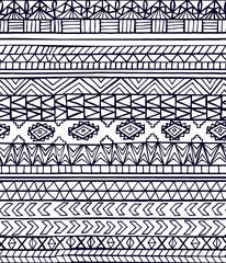 Hand drawn abstract aztec maya geometric seamless pattern