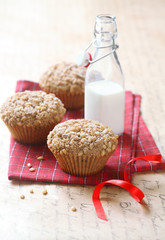 Pine Nut Cherry Big-Muffins with Streusel Topping