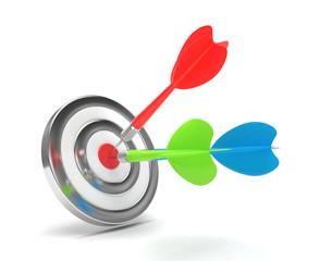 Three multicolor arrows darts in center.