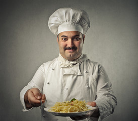 Chef cooking pasta