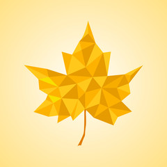 Maple leaf in triangular style. Vector illustration. Eps 10