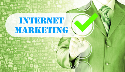 business man pressing checkbox  internet marketing