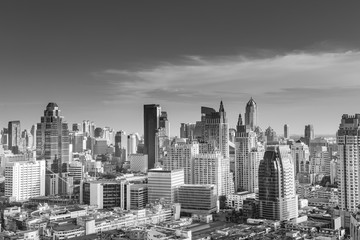 Bangkok cityscape black and white style.