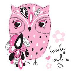 ornate owl bird vector illustration