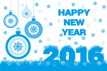 Vector holiday banner happy new year and merry christmas with snowflakes and glass holiday balls