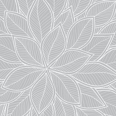 Abstract grey seamless pattern with leaves. Vector
