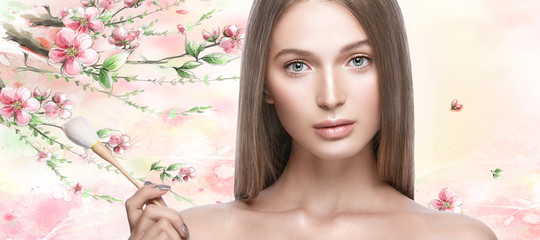 Beautiful young girl with a light natural make-up and beauty tools in hand. Beauty face